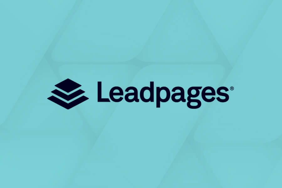 black leadpages logo on sky blueish background