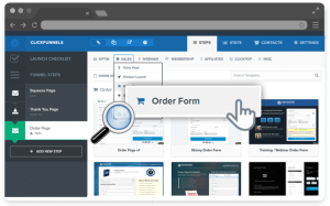 clickfunnels dashboard creating order form