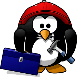 illustration of penguin with tools
