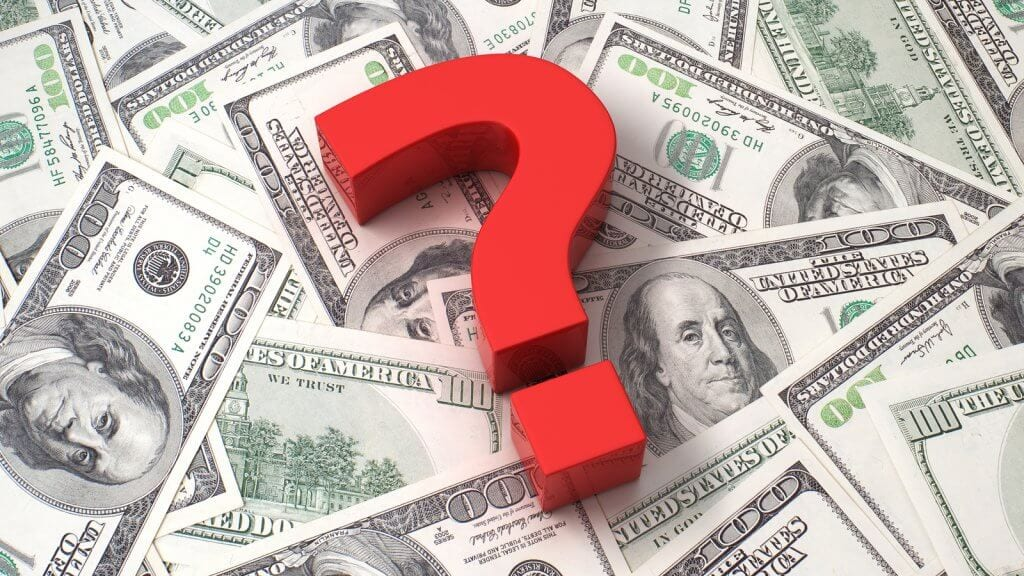 question symbol placed on money
