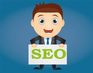 cartoon illustration of man holding a seo banner